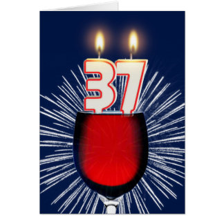 Cartão 37th Aniversário com vinho e velas