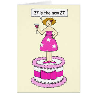 Cartão 37th celebração do aniversário, senhora em um bolo