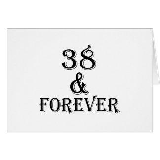 Cartão 38 e para sempre design do aniversário