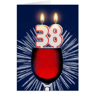 Cartão 38th Aniversário com vinho e velas