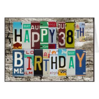 Cartão 38th aniversário feliz