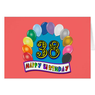 Cartão 38th arco feliz do balão do aniversário