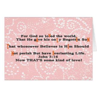 Cartão 3:16 de John agora que é algum tipo do amor