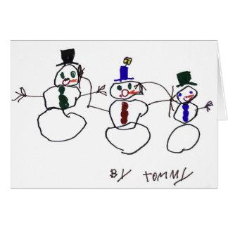 Cartão 3 bonecos de neve