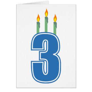 Cartão 3 velas do aniversário (azul/verde)