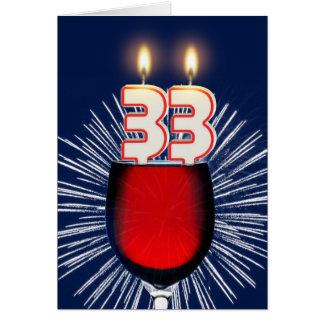 Cartão 3ó Aniversário com vinho e velas