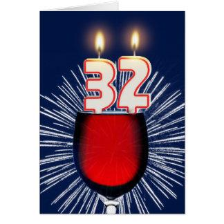 Cartão 3ò Aniversário com vinho e velas