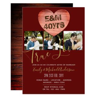 Cartão 40th Aniversário de casamento - ADICIONE FOTOS x 3