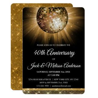 Cartão 40th Bola do disco do ouro da festa de aniversário