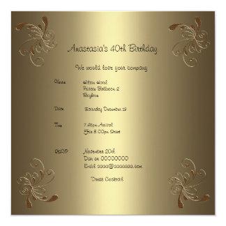Cartão 40th floral do ouro da festa de aniversário