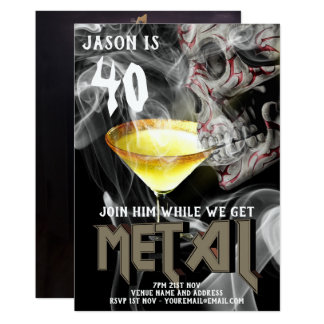 Cartão 40th O aniversário do metal pesado convida o