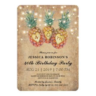 Cartão 40th tropical do aniversário   do abacaxi exótico