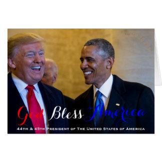 Cartão 44o e 45th presidente Dos EUA Obama e trunfo