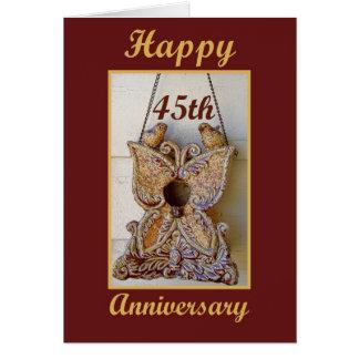 Cartão 45th Aniversário com pássaros do amor