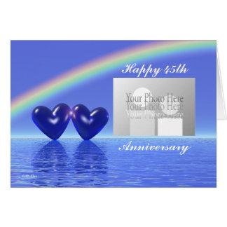 Cartão 45th Corações da safira do aniversário (para a