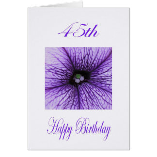Cartão 45th flor feliz do roxo do aniversário