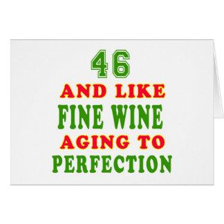 Cartão 46 e como o design do aniversário do vinho fino