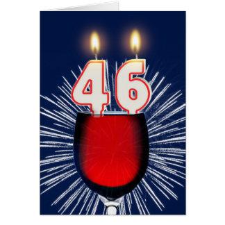 Cartão 46th Aniversário com vinho e velas