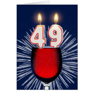 Cartão 49th Aniversário com vinho e velas