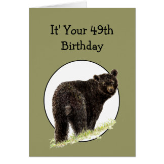 Cartão 49th Urso preto do divertimento do aniversário -