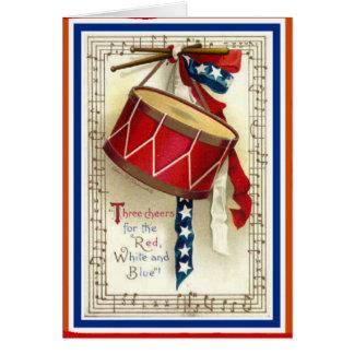 Cartão 4 de julho branco vermelho do cilindro do vintage