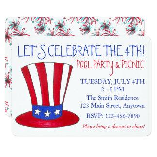 Cartão 4 de julho partido patriótico dos EUA dos