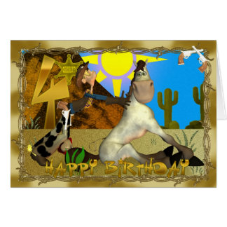 Cartão 4o aniversário Tooting de enraizamento feliz