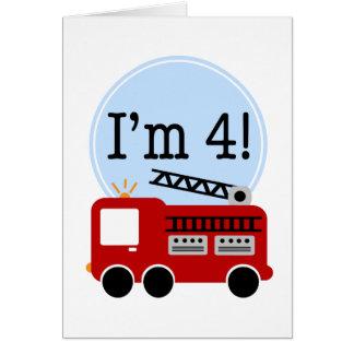 Cartão 4o Carro de bombeiros do aniversário