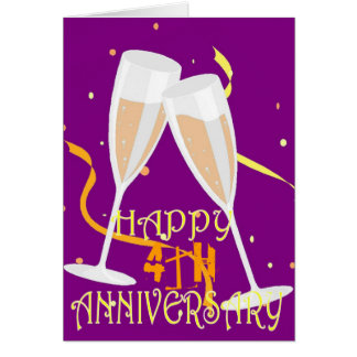 Cartão 4o celebração do champanhe do aniversário de
