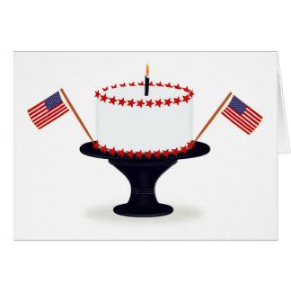 Cartão 4o Do bolo de aniversário de julho