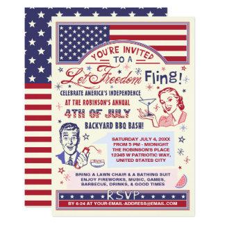 Cartão 4o do humor retro do Fling da liberdade do partido