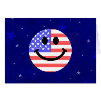 Cartão 4o do smiley face da bandeira americana de julho