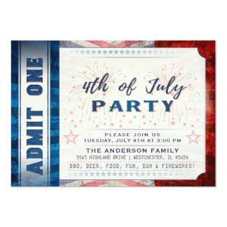 Cartão 4o julho admite que um bilhete do partido convida