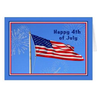 Cartão 4o julho com bandeira americana,