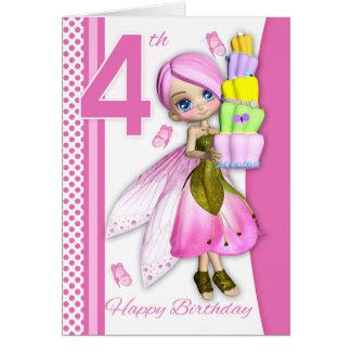 Cartão 4o Torta feericamente de Cutie da fantasia do bolo