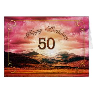 Cartão 50 aniversário, por do sol sobre as montanhas