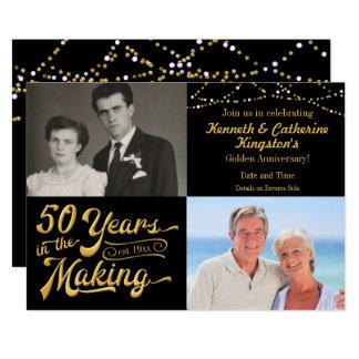 Cartão 50 anos no aniversário do fazer então & agora