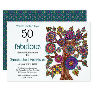 Cartão 50 e festa de aniversário de florescência fabulosa