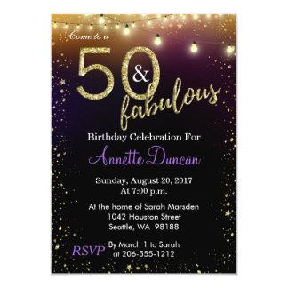 Cartão 50 e luzes e festa de aniversário fabulosas das