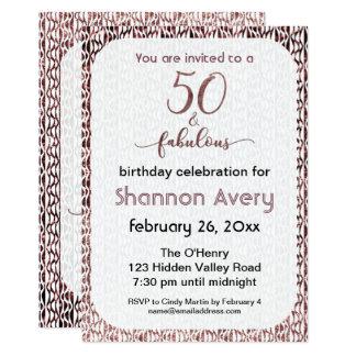 Cartão 50 e partido fabuloso com ouro cor-de-rosa do