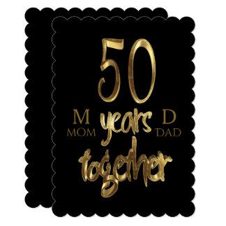 Cartão 50 junto anos de aniversário do casamento dourado