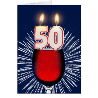 Cartão 50th Aniversário com vinho e velas