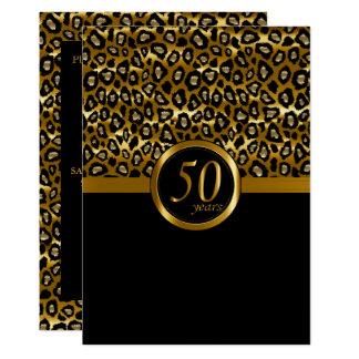 Cartão 50th Aniversário dourado do teste padrão do
