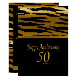 Cartão 50th Aniversário dourado - teste padrão da zebra