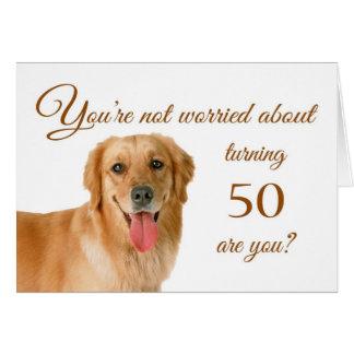 Cartão 50th aniversário feliz, laboratório preocupado