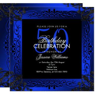 Cartão 50th aniversário quadro decorativo azul chique
