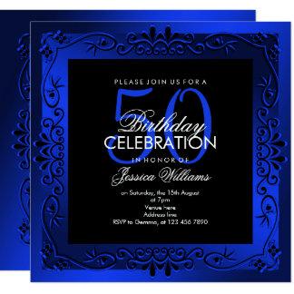 Cartão 50th aniversário quadro decorativo azul elegante
