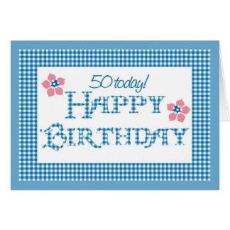 Cartão 50th Aniversário, teste padrão azul do guingão da