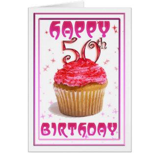 Cartão 50th bolo feliz do copo doce do aniversário