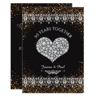 Cartão 50th Coração do diamante da celebração do